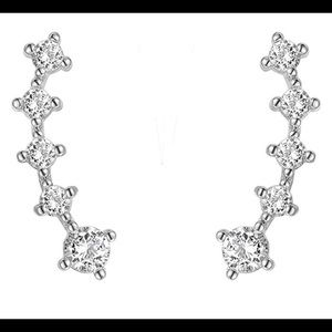 Jewelry - 14k gold plated CZ post crawler earrings New